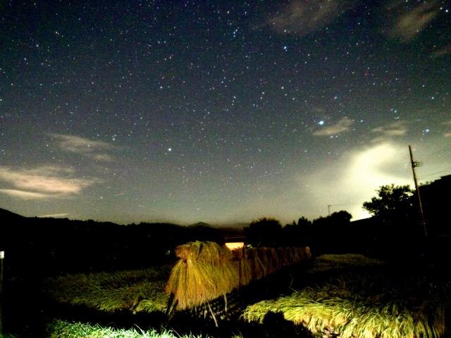 稲架掛けと星空。