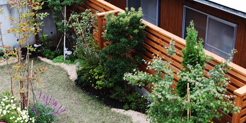 フェンスと植栽の効果