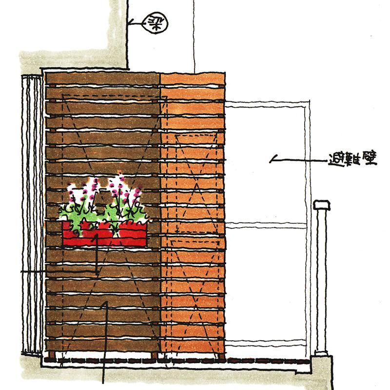 室外機を木製パネルで隠す